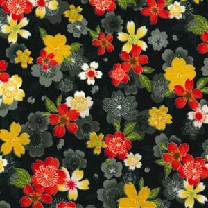 Sevenberry Gold Metallic Traditional Japanese Flower Bloom Black Fabric 0.5m