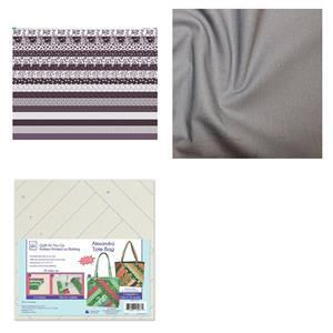 Copen Plumb Quilt As You Go Alexandra Tote Bag Kit: Pattern, Fabric Panel & Fabric (1m)