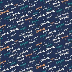 Yukata Dragonfly Metallic Fabric 0.5m