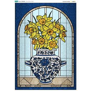 Stained Glass Easter Daffodil Panel. 70cm x 103cm. Exclusive