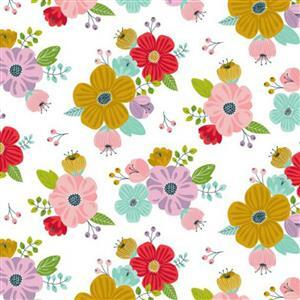 Sunshine Sunshine White Floral Fabric 0.5m