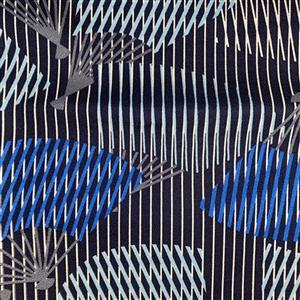 Hanare Blue Fans Fabric 0.5m