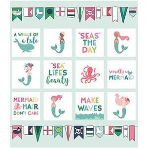 Riley Blake Ahoy Mermaids Fabric Panel 0.9m