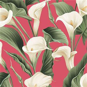 Colorido Peace Lilies on Pink Fabric 0.5m