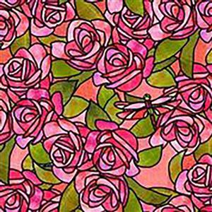 Stained Glass  Garden Roses on Pink Stained Glass Fabric 0.5m