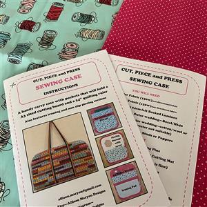 Allison Maryon's Cut, Piece and Press Sewing Case Full Kit; Instructions, Luminex, Webbing & Fabric Aqua Spools