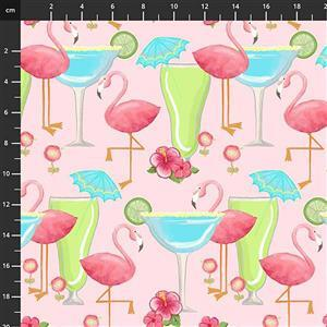Lets Flamingle Pink Cocktail Fabric 0.5m