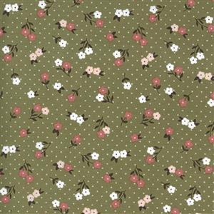 Moda Folktale Posie Gathering Olive Fabric 0.5m
