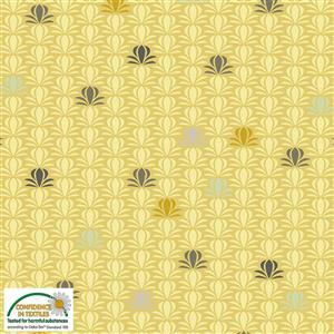 Blooming Garden On Gold Fabric 0.5m