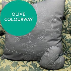 Olive Embroidered Heart & Cushion Kit: Instructions & Fabric Panel