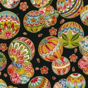 Sevenberry Gold Metallic Traditional Japanese Temari Balls Black Fabric 0.5m