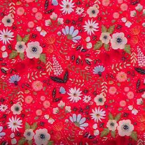 Poppie Cotton Farmgirls Unite On Red Fabric 0.5m