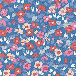 Liberty Carnaby Collection Picailly Poppy Red and Blue Fabric 0.5m