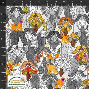 Medinilla Monkey Hanging Floral Black & White Autumn Fabric 0.5m