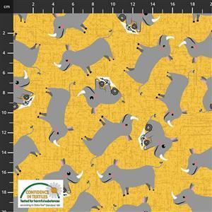 Coco's Safari Rhino Corn Yellow Fabric 0.5m