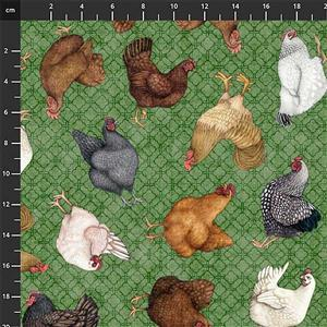 Green Pastures Chickens on Green Fabric 0.5m
