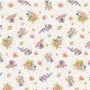 Flowers & Feathers Robin Tea Party Fabric 0.5m
