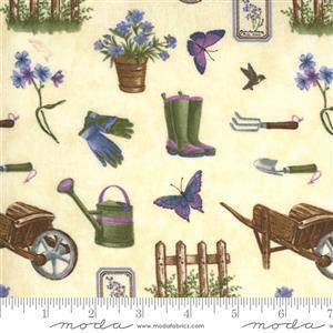 Moda Violet Hill in Cream Garden Tool Fabric 0.5m