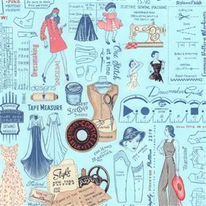 Sew Vintage Layout Blue Fabric 0.5m