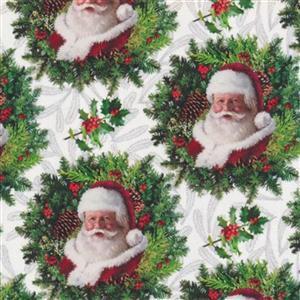 Here Comes Santa Wreath Fabric 0.5m