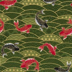 Beppu Koi On Green Fabric 0.5m