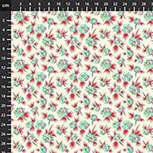 True Kisses Ditsy Floral on Red Fabric 0.5m