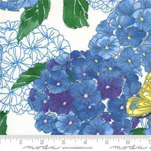 Moda Cottage Bleu in Blue Floral Butterflies Fabric 0.5m