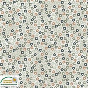 Hannah Basic Multi Floral Pale Grey Fabric 0.5m