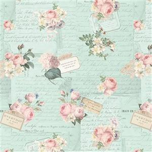 Riley Blake Rose Violets Gift Note Songbird Fabric 0.5m