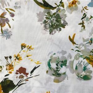 Wildflower Teal Wildflower on White Fabric 0.5m