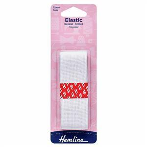 General Purpose Knitted Elastic White 1m x 32mm