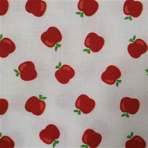 School Days An Apple a Day White Fabric 0.5m