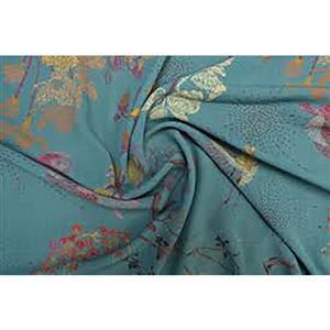 Oriental Koi Teal Viscose Challis Lawn Fabric 0.5m