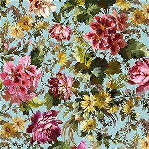 Michael Miller's Victoria's Garden Roses on Blue Fabric 0.5m