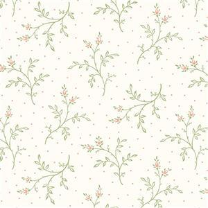 Henry Glass Violet's Garden in Cream Floral Stems Fabric 0.5m