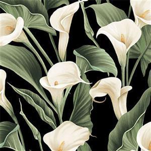 Colorido Peace Lilies on Black Fabric 0.5m