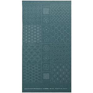 Sashiko Tsumugi Preprinted Geo 19 Light Blue Fabric Panel 108x61cm