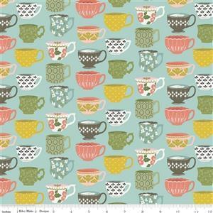 Riley Blake Tea With Bea  Sky Tea Cup Fabric 0.5m