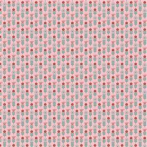 Poppie Cotton Chick-A-Doodle-Doo Tulip Row on Pink Fabric 0.5m UK exclusive