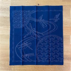 Sashiko Dragonfly Fabric Panel 30x30cm (12 x 12