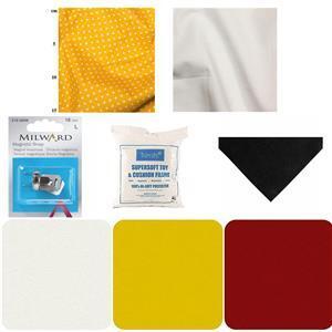Yellow Spot Stripes Tic Tac Toe Bundle: Snap, Felt, Toy Stuffing & Fabric (1.5m)
