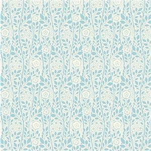 Liberty Emporium Collection Discovery Merton Rose Turquoise Fabric 0.5m