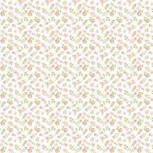 Daisy Mae Country Life Small Pink Flowers on White Fabric 0.5m