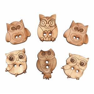 Wooden Buttons Owls Pack Of 6