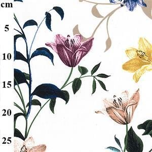 Flowers on Cream Ripple Polyester Fabric 0.5m