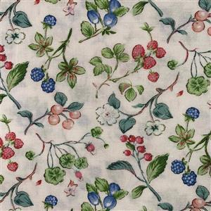 Country Floral Pastel Multi Berries on Cream Fabric 0.5m Exclusive