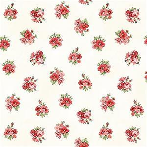 Henry Glass Violet's Garden in Cream Floral Fabric 0.5m