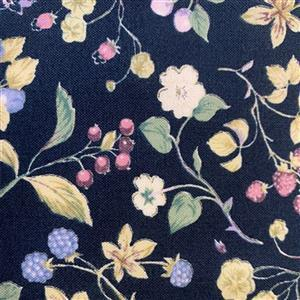 Country Floral Purple Berries on Navy Blue Fabric 0.5m Exclusive