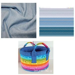 Misty Blue Design Roll Basket Kit: Instructions, Fabric Panel & Fabric (1m)