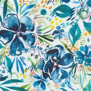 Moda Moody Bloom Floral Blue Fabric 0.5m